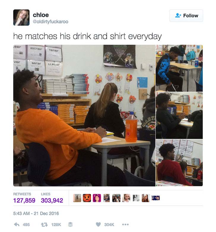 This Boy Was Caught by His Classmate Matching His Shirt to Drink Every Day_1