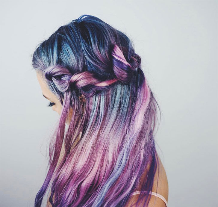 purple romance waterfall braid