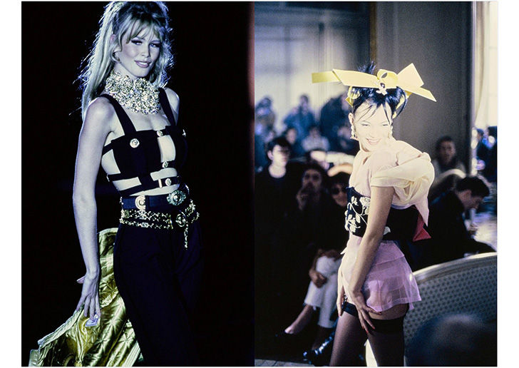 Claudia Schiffer at Versace 1992 and Kate Moss for John Galliano 1994